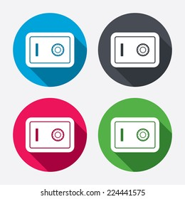 Safe sign icon. Deposit lock symbol. Protection for your documents in hotel. Circle buttons with long shadow. 4 icons set. Vector