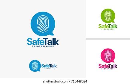 Safe Talk logo template, Secret Talk logo template vector