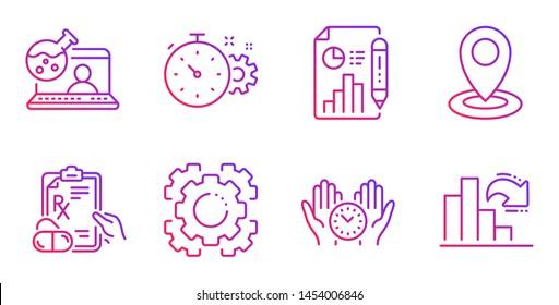 Safe time, Seo gear and Prescription drugs line icons set. Online chemistry, Cogwheel timer and Location signs. Report document, Decreasing graph symbols. Management, Cogwheel. Science set. Vector