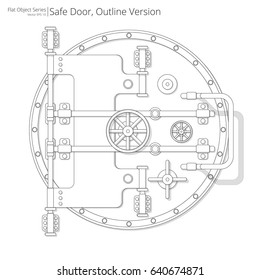 Safe and Vault Door. Vector illustration of a Safe and Vault Door. Outline version.