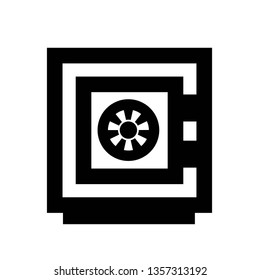 Safe vector icon. Closed deposit box sign. Safety concept. Security box symbol. Financial protection. Personal bank vault business element. Flat simple line graphic illustration.