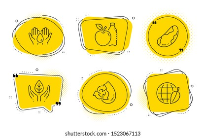 Safe water, Brazil nut and Environment day signs. Chat bubbles. Apple, Recycle water and Fair trade line icons set. Diet food, Refill aqua, Safe nature. Hold drop. Nature set. Line apple icon. Vector