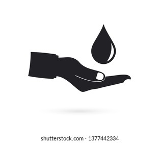 Safe water logo, water drop and hand icons. Vector Illustration.