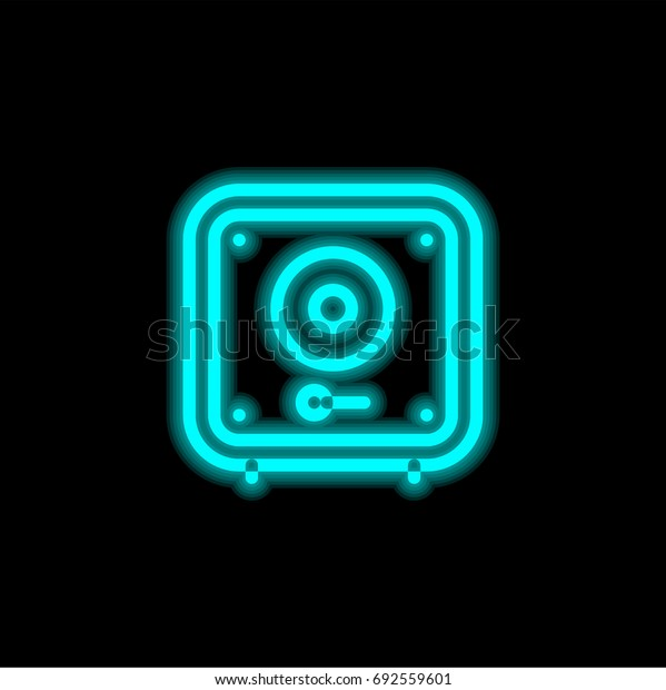 Safebox blue glowing neon ui ux icon. Glowing sign logo vector