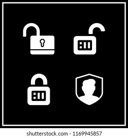 safeguard icon. 4 safeguard vector set. security, padlock and unlock icons for web and design about safeguard theme