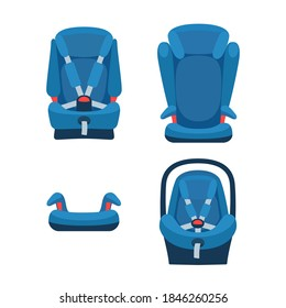 Safety baby car seats collection. Different type of child restraint. Booster front view. Isolated objects. Vector illustration on white background