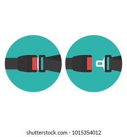 Safety belt icon set. Sign of Seat belt for protection isolated on white background. The safety equipment for car or plane. Vector illustration in flat style. EPS 10.