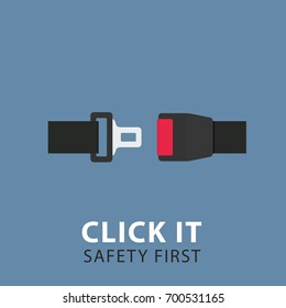 Safety Belt Illustration. Flat Design of Seat Belt