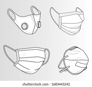 Safety breathing masks. Industrial safety N95 mask, dust protection and breathing medical respiratory. Corona masks. Hospital or pollution protect face masking.