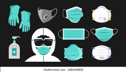 Safety breathing masks. Industrial safety N95 mask, dust protection respirator and breathing medical respiratory mask. Protection with hazmat suit, Corona masks