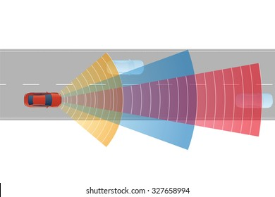 safety car and various sensors, image illustration