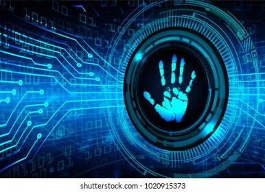 Safety concept, Closed Padlock on digital, cyber security, blue abstract hi speed internet technology background illustration. key, sci fi, fingerprint. scanning. Hand print.