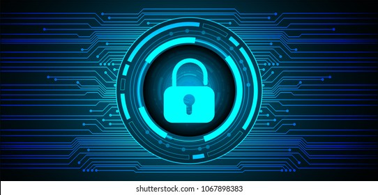 Safety concept, Closed Padlock on digital background, cyber security, Blue abstract hi speed internet technology background illustration. key vector