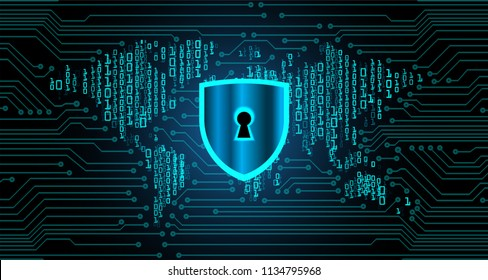 Safety concept, Closed Padlock on digital background, cyber security, Blue abstract hi speed internet technology background illustration. world map key vector