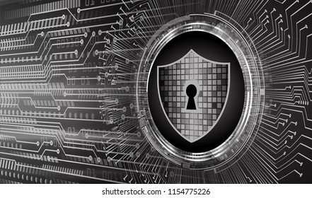 Safety concept, Closed Padlock on digital background, cyber security, Black abstract hi speed internet technology background illustration. key vector