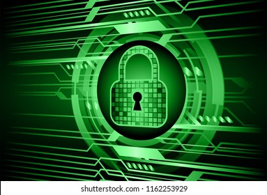 Safety concept, Closed Padlock on digital background, cyber security, green abstract hi speed internet technology background illustration. key vector