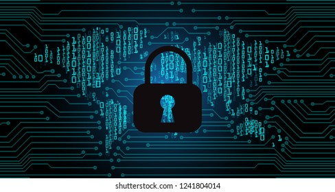 Safety concept, Closed Padlock on digital background, cyber security, Blue abstract hi speed internet technology background illustration. world key vector