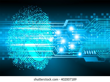 Safety concept, Closed Padlock on digital background, cyber security, Blue abstract hi speed internet technology background illustration. Finger-print scan. hand