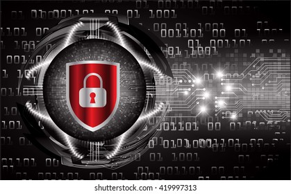 Safety concept, Closed Padlock on digital background, cyber security.