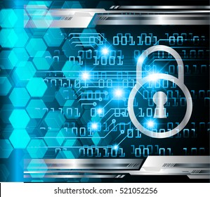Safety concept: Closed Padlock on digital background, blue abstract light hi speed internet technology. Cyber security concept. key. vector