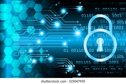 Safety concept, Closed Padlock on digital, cyber security, Blue abstract hi speed internet technology background illustration. key
