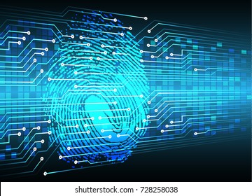 Safety concept, Closed Padlock on digital, cyber security, blue abstract hi speed internet technology background illustration. key, sci fi, fingerprint. scanning. Hand print.
