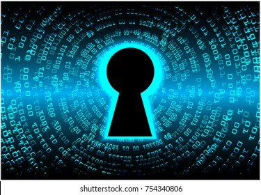 Safety concept, Closed Padlock on digital, cyber security, blue abstract hi speed internet technology background illustration. key, secure sci fi vector