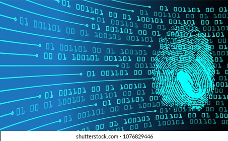 Safety concept,  cyber security, blue abstract hi speed internet technology background illustration. key, sci fi, fingerprint. scanning. Hand print.