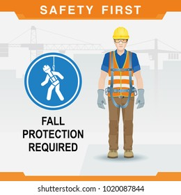 Safety at the construction site for high-altitude work. Fall protection required. Vector illustration
