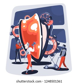 Safety and data protection concept. Group of business people working together around shield. Safe customer service. Vector Illustration.