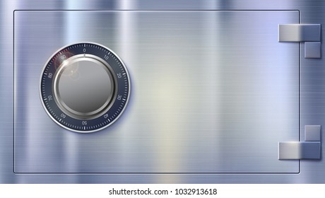 Safety Deposit box for storing money. Safe lock on metal surface with texture. Realistic metallic combination lock, front view. Concept security of money, 3D illustration.