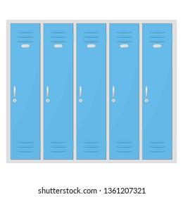 Safety deposit boxes. Blue lockers. Vector illustration
