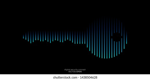 Safety digital concept key icon line pattern blue color isolated on black background. Vector illustration technology security.