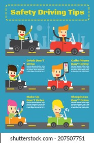 Safety driving tips ,Vector Infographic Elements