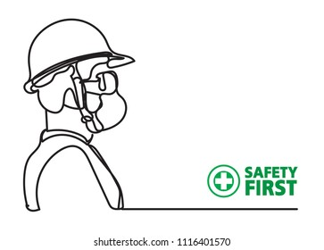 safety equipment, construction concept, line drawing style,vector design