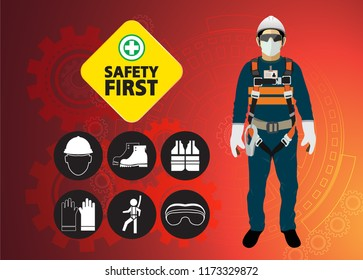safety equipment, construction concept, White safety hard hat. Vector illustration