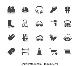 Safety equipment, required PPE flat silhouette icons set. Protective gloves builder helmet respirator, harness vector illustrations. Glyph signs personal protection. Pixel perfect pictograms.