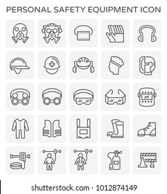 Safety equipment and tool icon set.