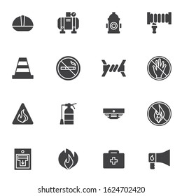 Safety equipment vector icons set, modern solid symbol collection, filled style pictogram pack. Signs, logo illustration. Set includes icons as fire hydrant, traffic cone, water hose, extinguisher