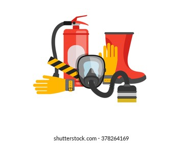 Safety equipment vector set