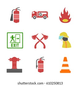 Safety equipment vector set. Fire protection and fire.