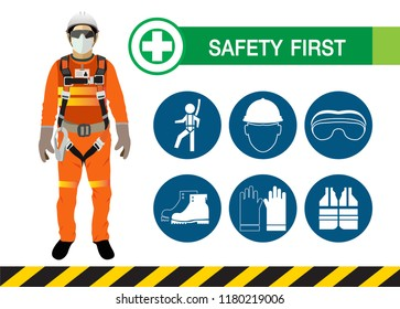 safety first, construction concept, Vector design