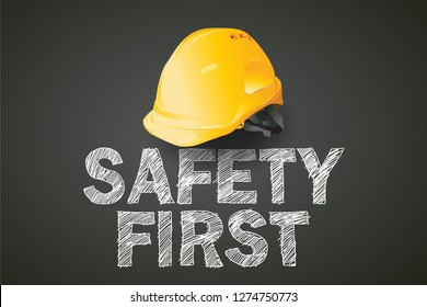 safety first, construction concept, Yellow safety hard hat,  vector design