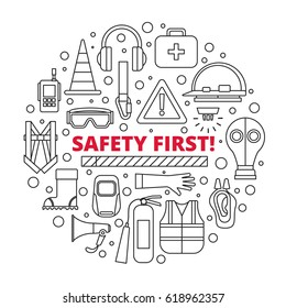 Safety first - equipment and supplies vector illustration with isolated elements in circle on white background in modern style. Design for cover, emblem, label, sign.