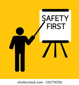 safety first presentation for training or teaching : business concept on yellow background