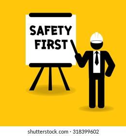 safety first presentation for training or teaching : business concept vector