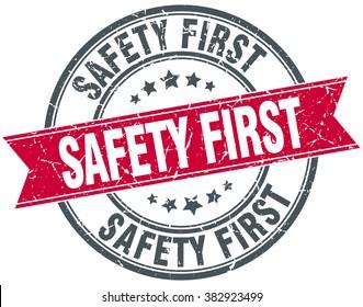 safety first red round grunge vintage ribbon stamp