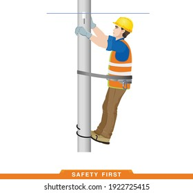 Safety first. Rules for working at height. Safety engineering for high-voltage work. Builder, worker, electrician, high-rise work. Vector illustration of a man in construction clothes
