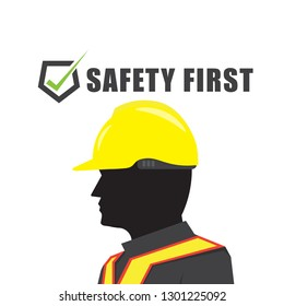 Safety first text symbol with man yellow helmet on white