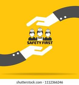 safety first in two hand on yellow background vector : business concept vector